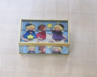 Vintage three Angels Glass Trinket Box, Mirrored Interior Bottom, Brass Hinged Lid, Jewelry Keepsake,