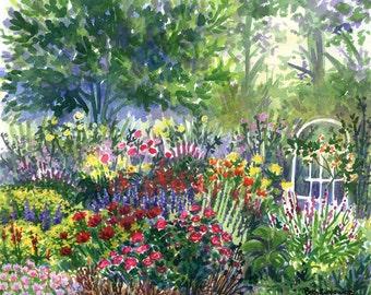 The Joyful Garden - Original Watercolor Painting