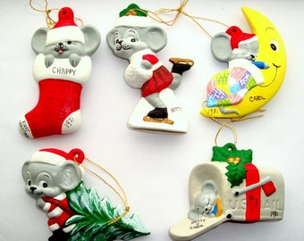 Set of 5 Vintage Mice Christmas Ornaments, 1981, Gray Mouse in Stocking, Mail Box, Ice Skating, Moon, Christmas Stocking, Kitsch  (24-16)