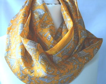 Golden Yellow Handmade Recycled Sari Infinity Scarf - Eternity Scarf - Loop Scarf - Circle Scarf
