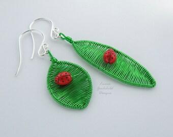 Ladybird earrings, ladybug earrings, asymmetrical earrings, woven earrings, woven wire, wire leaves, woodland earrings, nature inspired