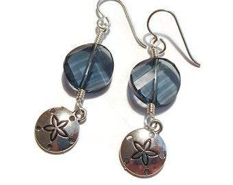 Sand Dollar Twist Earrings Swarovski Twist Beads Colorado Blue Crystal Earrings Beach Jewelry