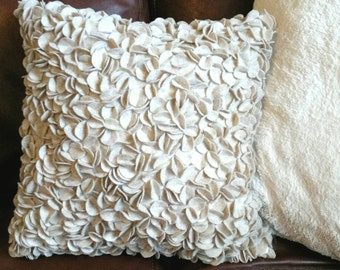 Beige Textural Felt Petal Decorative Throw Pillow
