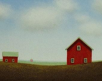 "RED BARN Painting 4 x 6""  STUDY Art Mini Landscape Folk Art Painting  Old Farm painting Original Barn art contemporary Husband Art Gift"