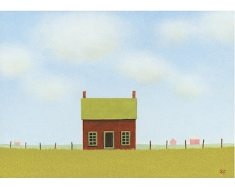 "old FARM HOUSE Folk Art Painting STUDY Barn Painting Farmhouse 5 x 7"" farm painting Landscape Original Art Gift Birthday Country Folk art"