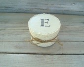 Ivory round wedding box with stenciled initial . ivory and lace bridesmaid gift box . wedding ring box