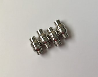 Silver Tone 5mm Magnetic End Caps, 5mm Magnetic Cord Ends, 5mm Magnetic Kumihimo Clasps, 5mm Leather Magnetic Clasps