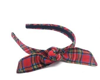 Blair Waldorf Inspired Red Tartan Plaid Headband - 3/4 inch Headband with Tied Knot Bow - Preppy Plaid Bow Headband Adult or Big Girl