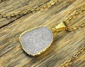 Valentine SALE - Small Druzy Necklace, Small Druzy Pendant, Druzy Jewelry, Gold Druzy Necklace, Gold Druzy Pendant, Snow Druzy Necklace, ...