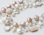 Charlotte Blush Pearl Necklace, Pink Pearl Necklace, Multi Strand Necklace, Pink Pearls, Blush Necklace, Triple Strand Necklace, Statement