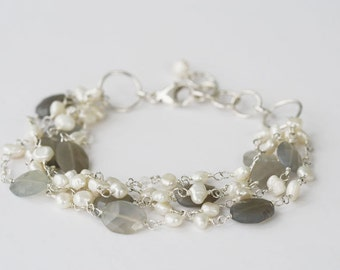 Multi Strand Gemstone Bracelet, Multi Strand Bracelet, Moonstone Jewelry, Pearl, Gift for Wife, Gray Gemstone Bracelet, Fine Jewelry