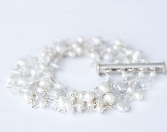 White Pearl Bracelet, Multi Strand Bracelet, Fine Jewelry,  Bracelet, Multi Strand Pearl Bracelet, 5 Strand Pearl Bracelet, Pearl Bracelet