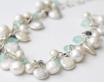 Bridal Necklace, Bridal, Wedding, Mint Wedding, Bridal Necklace, Beach Wedding, Destination Wedding, Wedding Jewelry, Cluster Necklace