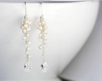Long Cluster Earring, Bridal Earrings, Wedding Jewelry, Bridal Accessories, Long Earrings, Long Cluster Earrings, Beach Wedding