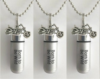 """Set of 5 ENGRAVED Brushed Silver Cremation Urn Necklaces """"Born To Be Wild""""with Motorcycle - with/5 Velvet Pouches, 5 Ball-Chains & Fill Kit"""