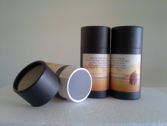 """SET OF THREE Eco-Friendly Cremation Urn Scattering Tubes w/Telescopic Lids - Black/Biodegradable - Style """"Serenity"""""""