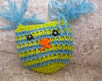 ONE Cat Toy Pouch High Quality organic catnip/valerian mix by Catopia9, hand-crochet, wool/bamboo yarn.  FREE SHIPPING