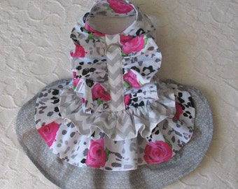 Dog Harness Dress Roses Ruffle XS