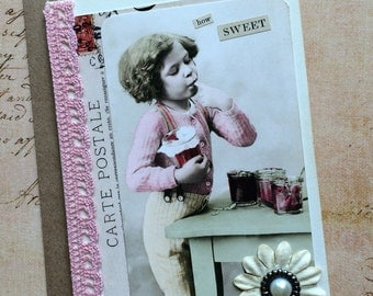 Vintage photo young child with jam jar handmade greeting card