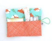 Tampon Case - Fox Happy Camper - pad holder Feminine Product Case Privacy Pouch