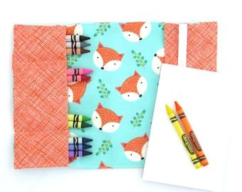 Crayon Notebook - Fox Happy Camper - coloring book, activity pad, crayon wallet, notepad, artfolio