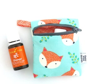 Mini Essential Oil Zippered Pouch - Fox Happy Camper - travel case essential oil storage holds 2 bottles