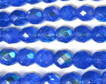 50 pcs 8 mm Glass Beads Sapphire AB Round Faceted Czech Fire polished B-47
