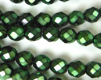 50 pcs 8 mm Glass Beads Metallic Green Round Faceted Czech Fire polished B-43