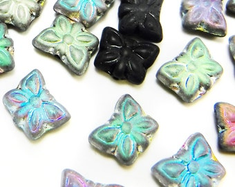 25 pcs Glass Butterfly Beads Jet Ab 12 mm Czech Pressed Glass B-145
