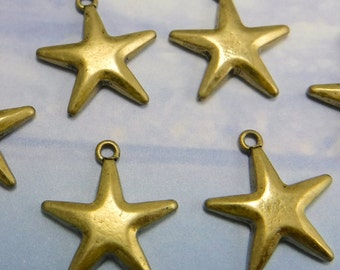 6 Starfish Charms Large Antique Brass Cast Charm Sea Scape Castings M-105