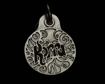Sterling silver scrollwork tag, small