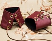 SMALL oxblood red patchwork leather Cuffs with brown Lace gold Grommets and Black Laces (PAIR)