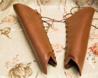 SMALL chestnut brown pleather Long Pointy Bracers with brass and brown Ribbon Laces (PAIR) elven armor anime comicon dungeons and dragons