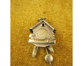 Mechanical Cuckoo Clock Charm or Pendant – Marked 800 Silver CHN – Vintage Silver Jewelry