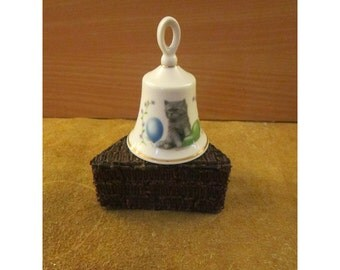 Cute Cats Porcelain Bell – Orange Cat and Gray Kitten – by Kyotah China –Vintage Cat Collectible Bell