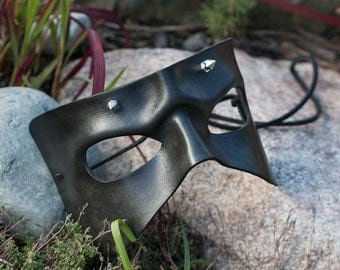 Leather Mask Black Spiked Handmade