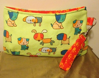 Large Zippered Coraline Clutch with Wrist Strap