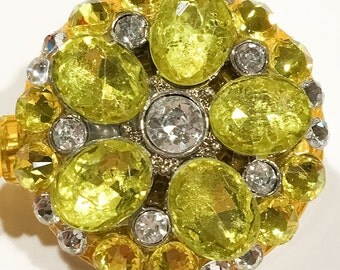 Swarovski Yellow Crystal Rhinestone Flower Embellished Retractable ID Name Tag Badge Reel  Multiple Color Options