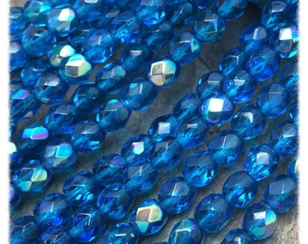 Pacific  Blue AB Fire polished 5mm Czech Glass Beads