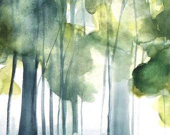 Landscape Painting - Grove II - Original Watercolor Painting - 17x12 - Forest - Woods - Birch Trees - Nature - Abstract Art - Landscape