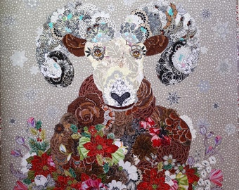 MarveLes PATTERN IZAAK COLLAGE Christmas Style Rocky Mountain Blooming Bighorn Sheep Flower Montana Glacier Park