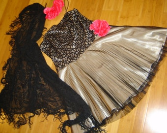 Day of the Dead saloon girl Costume black gray dress lace net  womens size L Halloween Dia de los Muertos