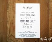 25 Rustic Couples Wedding Shower Invitations Bridal Shower Invitations - Foliage Monogram - By My Lady Dye