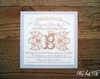 25 Shabby Chic Royal Princess Birthday Invitations - Crown and Scrolls - By My Lady Dye
