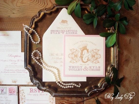 100 Shabby Chic Royal Crown Wedding Invitations - Scrolls and Crown - By My Lady Dye