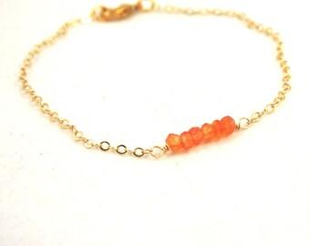 Carnelian Bracelet . Faceted Gemstone Bracelet . Minimalist Jewelry . Orange Carnelian Jewelry