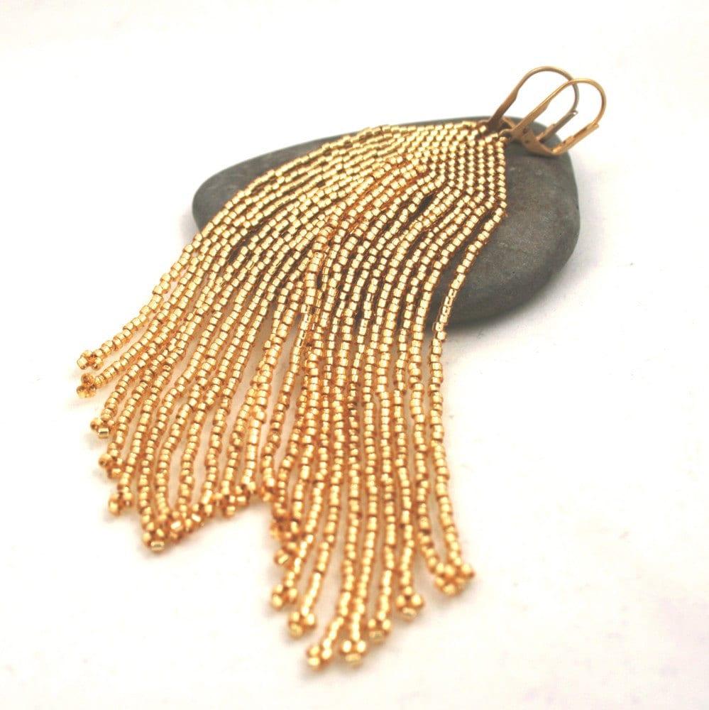beaded fringe earrings golden seed bead fringe earrings