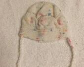 newborn baby girl hat  pink white crochet handmade gift idea for new baby shower birthday christmas welcome