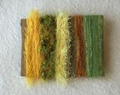 ice yarns SAMPLES fiber art bundle cards yellow orange green eyelash fun fur sparkle crochet knitting left over yarn scrap