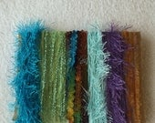 ice yarns SAMPLES fiber art bundle cards blue green turquoise lavender rainbow eyelash fun fur sparkle crochet knitting left over yarn scrap